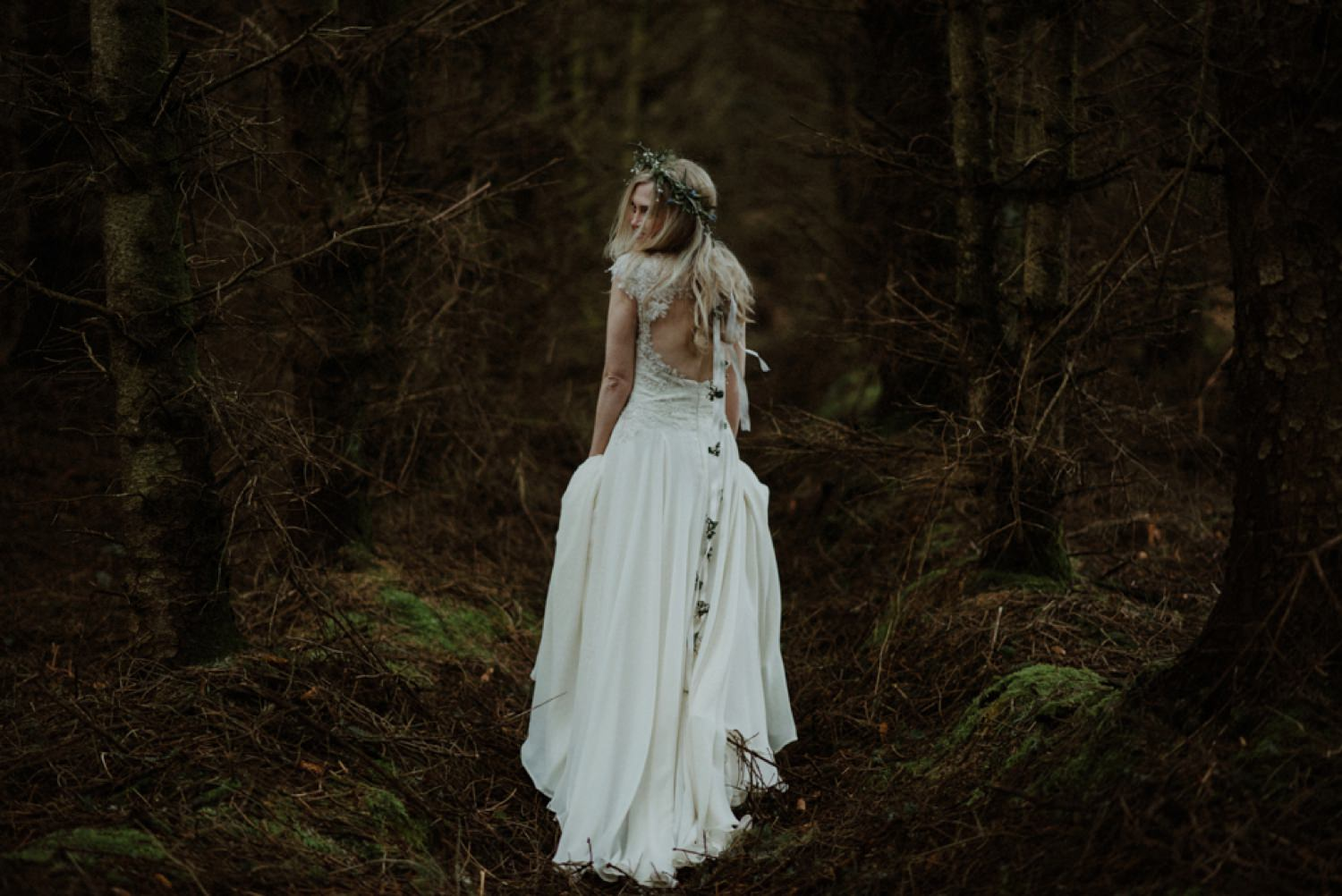 bride in woods at crear weddings