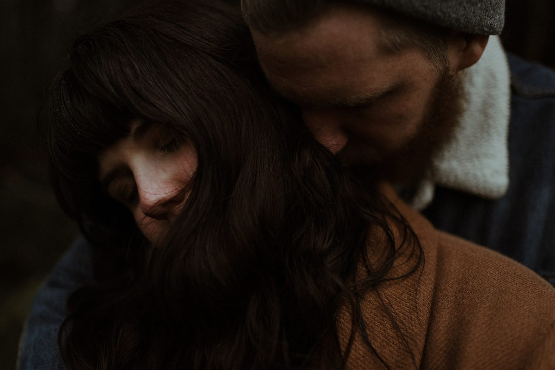 couple in scottish woodlands