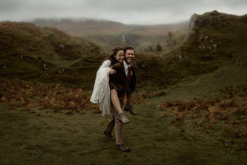 Couple enjoying The Fairy Glen. One of the best places to elope in Scotland.
